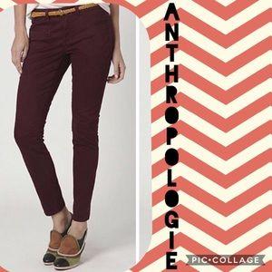 Anthropologie DOL burgundy slim fit pants size 10